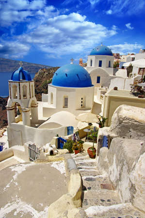 santorini greece: beautiful white-blue Santorini