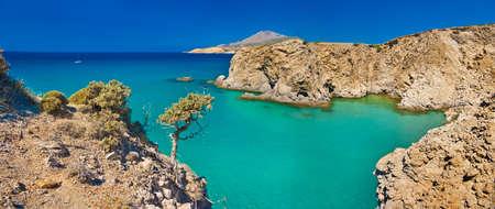 beautiful Milos island bay photo
