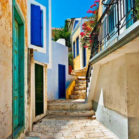 santorini: pretty colored streets of greek islands