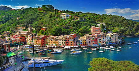 genoa: view of beautiful Portofino, Italy, Ligurian coast