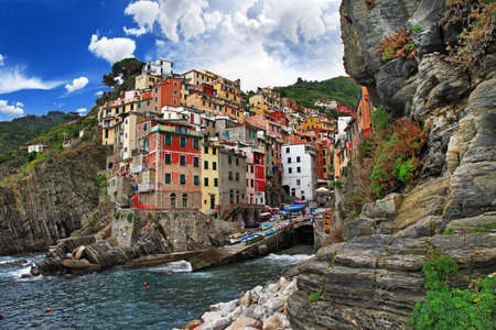 cinque terre: travel in Italy series - Riomaggiore, Cinque terre Stock Photo