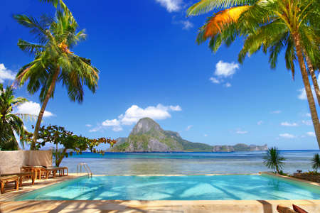 tropical vacation, pool view