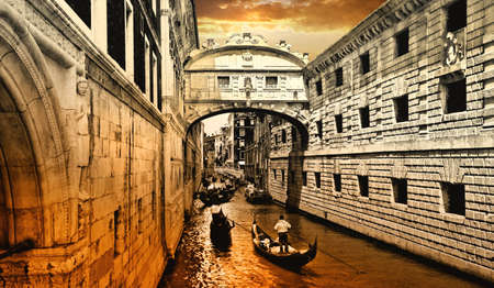 canal house: sunset in Venice - bridge of sights Stock Photo