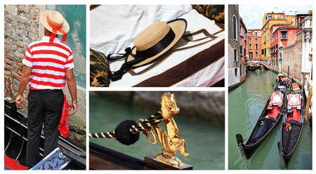 Venice, gondollas, gondoliers - conceptual collage photo