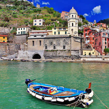 colors of sunny Italy - famous Cinque terre - Vernazza Stock Photo - 14770908