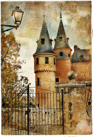 segovia: Alcazar castle - medieval Spain painted style series  Editorial