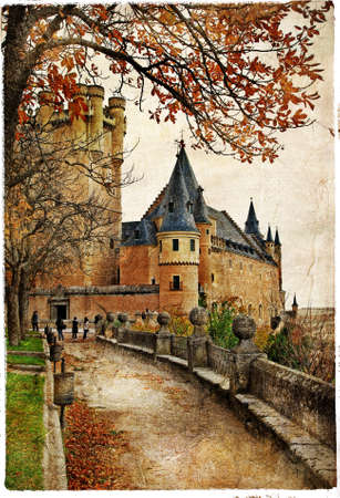 Alcazar castle - medieval Spain painted style series  Stock Photo - 17025378