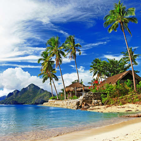 tropical paradise: tropical beach scenery Stock Photo