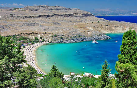 rhodes: travel in Greek islands series - Rhodes, Lindos bay Stock Photo