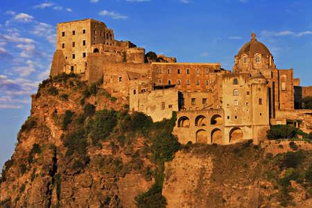 aragon: Aragonese castle on sunset, Ischia, Italy
