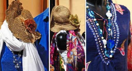 seasonal light display: stylish summer cloth collection in Italian streets Stock Photo
