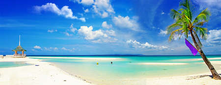 strandstoel: prachtig tropisch strand panorama
