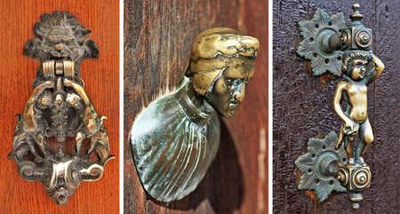 ensemble de belles poign�es de portes anciennes de Venise Banque d'images - 15220284