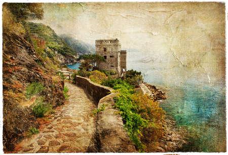 paisaje mediterraneo: picturesue costa italiana - ilustraciones en estilo de la pintura retro