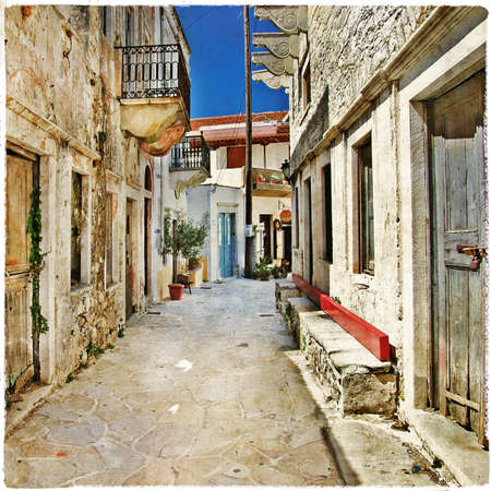 mediterranean style: charming old greek streets, Naxos island Stock Photo
