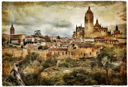 segovia: Segovia - medieval city of Spain - artistic retro styled picture Stock Photo