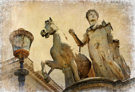 One of the two great statues of Castor and Pollux -artistic retro styled picture photo
