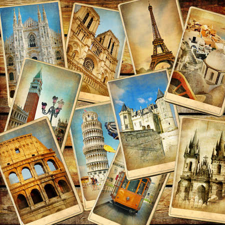 vintage reizen achtergrond collage Stockfoto