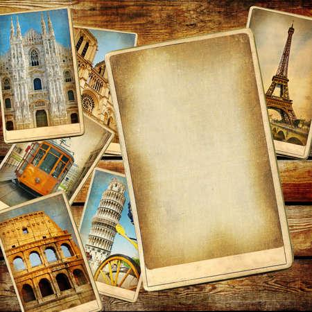 arrière-plan de voyage de cru avec une page blanche pour le texte ou la photo
