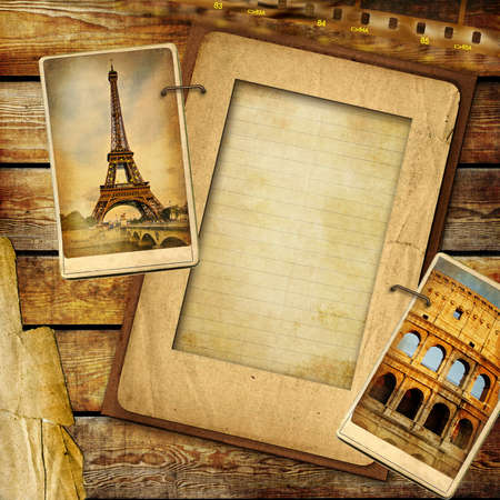 collage art: vintage travel background with blank page for text or photo
