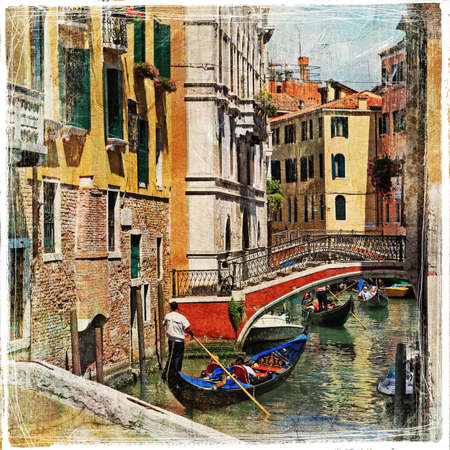 romantic Venice - artwork in painting style Editorial