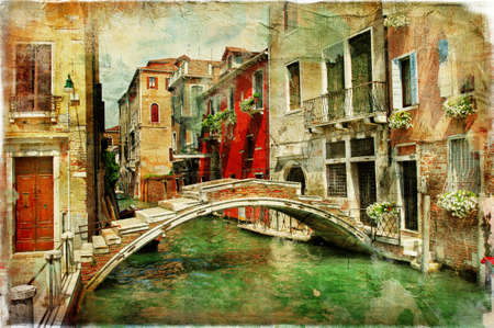 romantic Venice, artwork in painting style photo