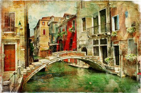 romantische Venetië, kunstwerk in het schilderen stijl Stockfoto
