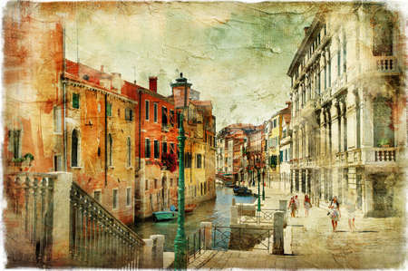 painting style: romantic Venice, artwork in painting style Stock Photo