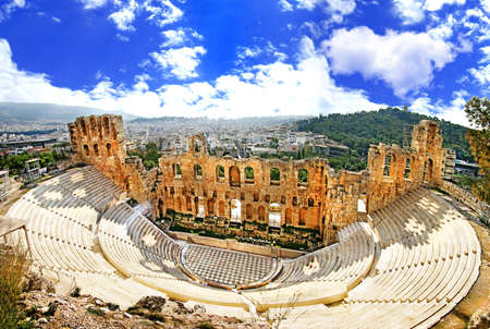 Athens, ancient theater in Acropolis Stock Photo