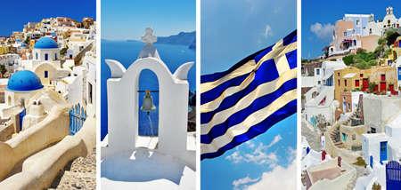 the greek flag: Santorini  travel in greek islands series