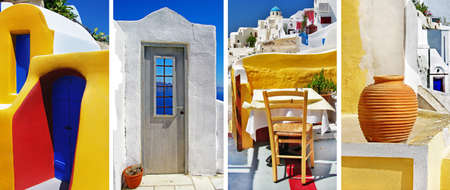 colorful Santorini  travel in greek islands series photo