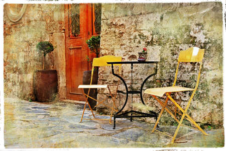 pictorial: old pictorial greek streets - vintage artistic series  Stock Photo