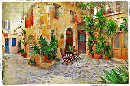 courtyard: old pictorial greek streets - vintage artistic series  Stock Photo