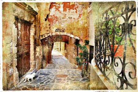 old pictorial greek streets - vintage artistic series  Banco de Imagens