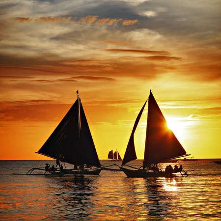 Sailing to the sunset - Boracay island Stock Photo - 17063669