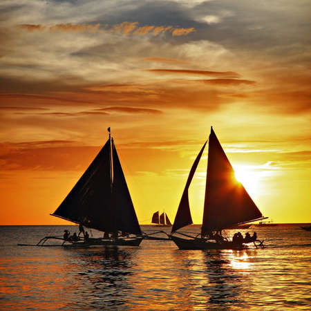 Sailing to the sunset - Boracay island  Banco de Imagens