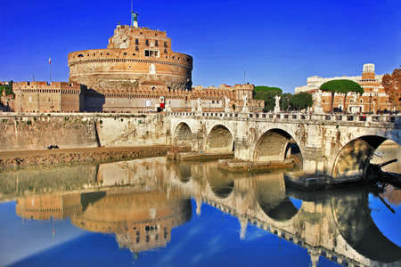 Roman greatest landmarks - St  Angello castel, view with bridge  photo