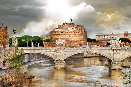 greatest: Roman greatest landmarks - St  Angello castel, view with bridge  Stock Photo
