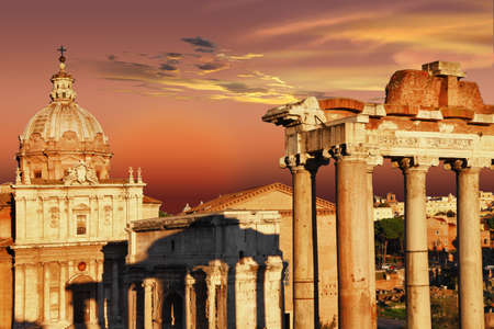 Roman forums over sunset Stock Photo