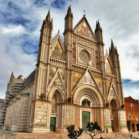 travel in Italy series - beautiful Cathedral in Orvieto, Umbria  Stock Photo