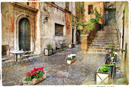 mediterranean home: pictorial old streets of Italy,Rome  artistic picture in retro style  Stock Photo