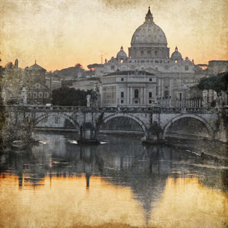 San Pietro basilica  Rome  retro styled picture  photo