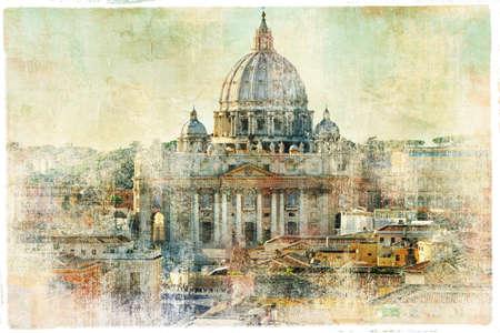 vatican city: st Pietro, Vatican - artwork in painting style