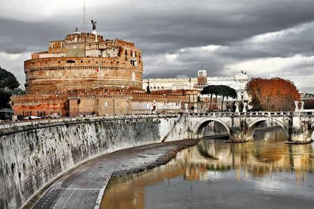 greatest: Roman greatest landmarks - St  Angello castel, view with bridge