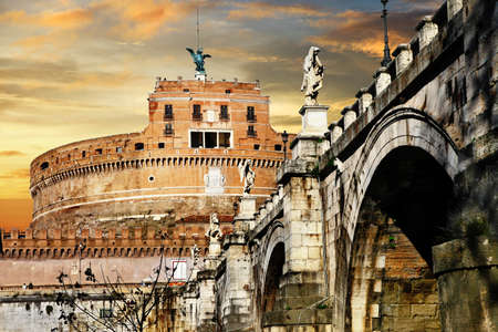 Roman greatest landmarks - St  Angello castel on sunset  Stock Photo - 17110176