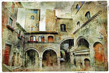 lazio: medieval towns of Italy, retro picture  Stock Photo