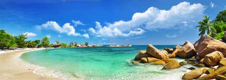 panoramic beach: scenic  tropical nature - amazing Seychelles Stock Photo