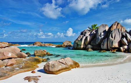 scenic  tropical nature - amazing Seychelles 스톡 콘텐츠