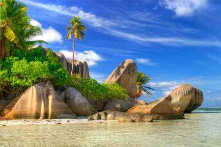 seychelles: scenic  tropical nature - amazing Seychelles Stock Photo