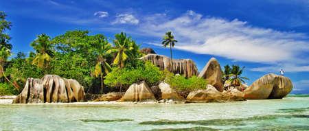 scenic  tropical nature - amazing Seychelles Stock Photo